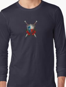 Texas Flag on a Worn Shield and Crossed Swords Long Sleeve T-Shirt
