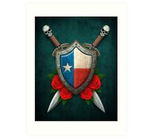 Texas Flag on a Worn Shield and Crossed Swords Art Print