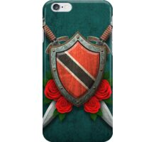Trinidadian Flag on a Worn Shield and Crossed Swords iPhone Case/Skin