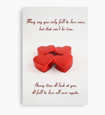 Red Valentine Love Hearts Canvas Print