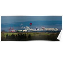 Balloon over Smoke in industrial rural scene Poster