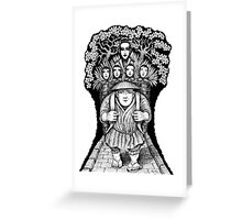 Night Escape surreal black and white pen ink drawing Greeting Card