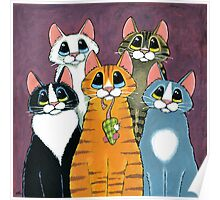 A Feline Family Portrait Poster