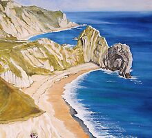 Durdle Door - Clifftop Flowers by Annie Lovelass