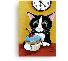 Tuxedo Cat with Cherry Cupcake Canvas Print