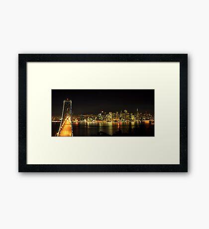 San Francisco and the Bay Bridge @ Nite Framed Print
