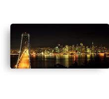 San Francisco and the Bay Bridge @ Nite Canvas Print