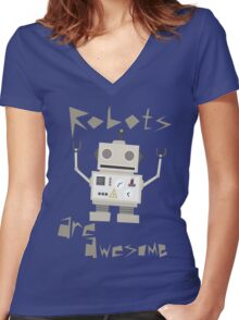 Robots Are Awesome Women's Fitted V-Neck T-Shirt