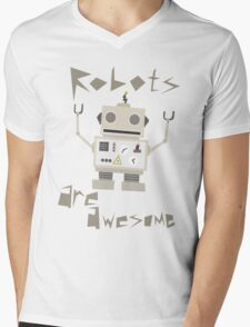 Robots Are Awesome Mens V-Neck T-Shirt