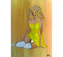 Woman in Yellow Dress Photographic Print