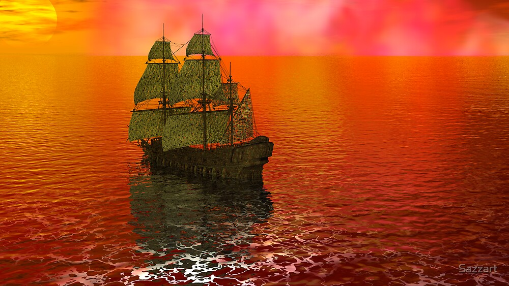 Flying Dutchman in Bermuda Triangle panel 2 by Sazzart