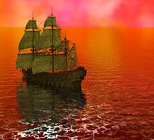 Flying Dutchman in Bermuda Triangle panel 2 by Sazzart