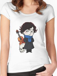 sherlock skull violin Women's Fitted Scoop T-Shirt