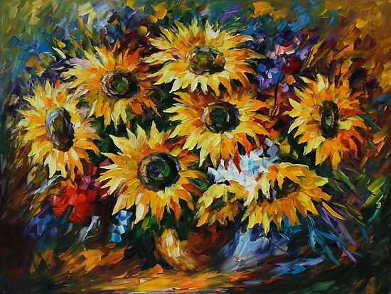 MAGICAL SUNFLOWERS - LEONID AFREMOV by Leonid  Afremov
