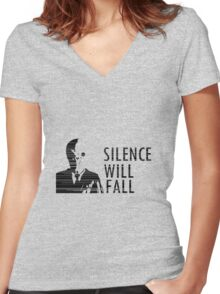 """Silence Will Fall"" - Doctor Who Women's Fitted V-Neck T-Shirt"