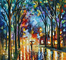 WINTER ALLEY - LEONID AFREMOV by Leonid  Afremov