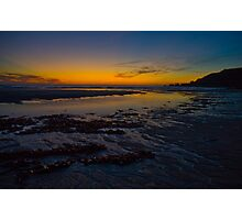 Yellow Low Tide Sundown Photographic Print
