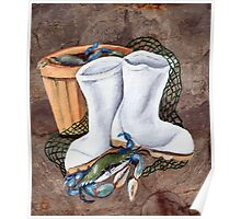 White Boots and Crabs Poster