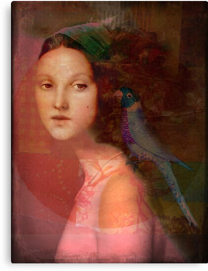 Girl with parrot by Catrin Welz-Stein