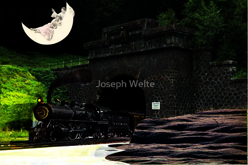 Don't You Hear That Lonesome Whistle Blow? (Surrealist Collage) by Joseph Welte