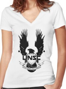 UNSC LOGO HALO 4 - CLEAN LOGO IN BLACK Women's Fitted V-Neck T-Shirt