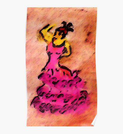 Flamingo dancer, watercolor Poster