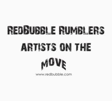RB Rumble shirt ~ Artist on the move (black text) by Rosalie Dale
