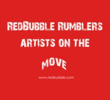 RB Rumble shirt ~ Artist on the move (white text) by Rosalie Dale
