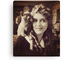 Mary Pickford - Vintage Lady with kitten - Vintage Selfie Canvas Print