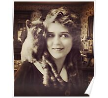 Mary Pickford - Vintage Lady with kitten - Vintage Selfie Poster