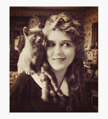 Mary Pickford - Vintage Lady with kitten - Vintage Selfie Photographic Print