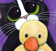 Scared Tuxedo Cat with Toy Duck by Lisa Marie Robinson