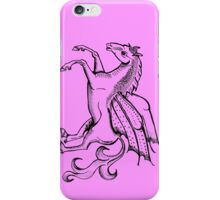 Pink Pegasus Woodcut Style iPhone Case/Skin