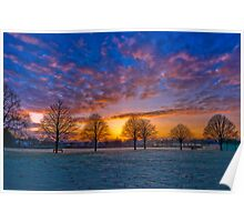 Winter Sunset. Town Fields, Doncaster Poster