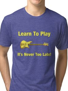 Learn To Play Electric Bass Yellow Tri-blend T-Shirt
