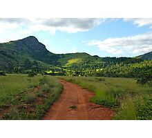 red dirt, green grass.  mlilwane wildlife sanctuary Photographic Print