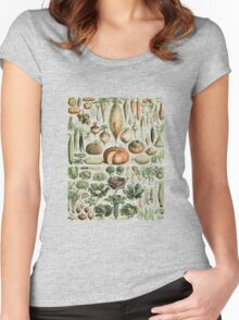 Autumn Fall Vegetables Vegetarian Vegan Thanksgiving Dictionary Organic Art Vintage Cottage Chic Women's Fitted Scoop T-Shirt