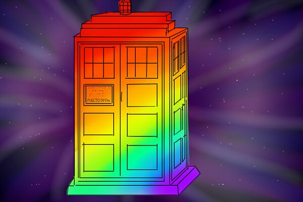 Rainbow Tardis by DoctorSherlock
