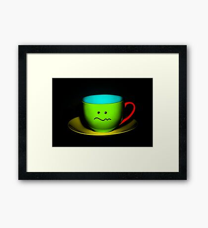 Funny Wall Art - Confused Colourful Teacup Framed Print