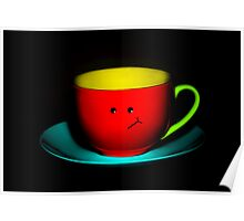 Funny Wall Art - Bashful Colourful Teacup Poster