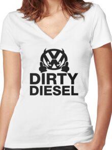 Dirty Diesel, VW Humor Women's Fitted V-Neck T-Shirt