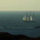 Tall ship Under Sail Rounding Lands End by Crispel