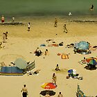 Parasols and Windbreaks : A British Summer Beach Scene by Crispel