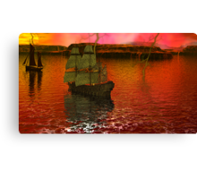 Flying Dutchman Pursuit in Bermuda Triangle panel 3 Canvas Print