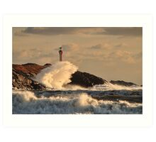 Wave Crashing at Cape Forchu Art Print