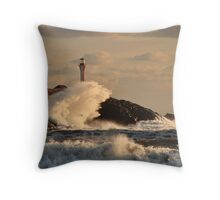 Wave Crashing at Cape Forchu Throw Pillow