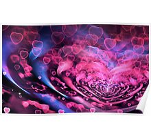 Valentine Hearts Background. Valentines Pink Abstract Wallpaper. Backdrop Collage Poster