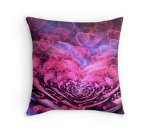 Valentine Hearts Background. Valentines Pink Abstract Wallpaper. Backdrop Collage Throw Pillow