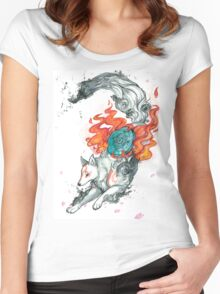 Watercolor Okami Women's Fitted Scoop T-Shirt