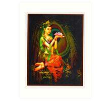 Kuan Yin And The Peacock Feather Art Print